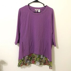 LOGO Purple Longn Sleeve Floral Ruffle Hem Sz S